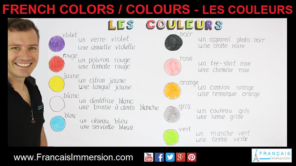 French Colors Colours Couleurs Support Guide - Français Immersion