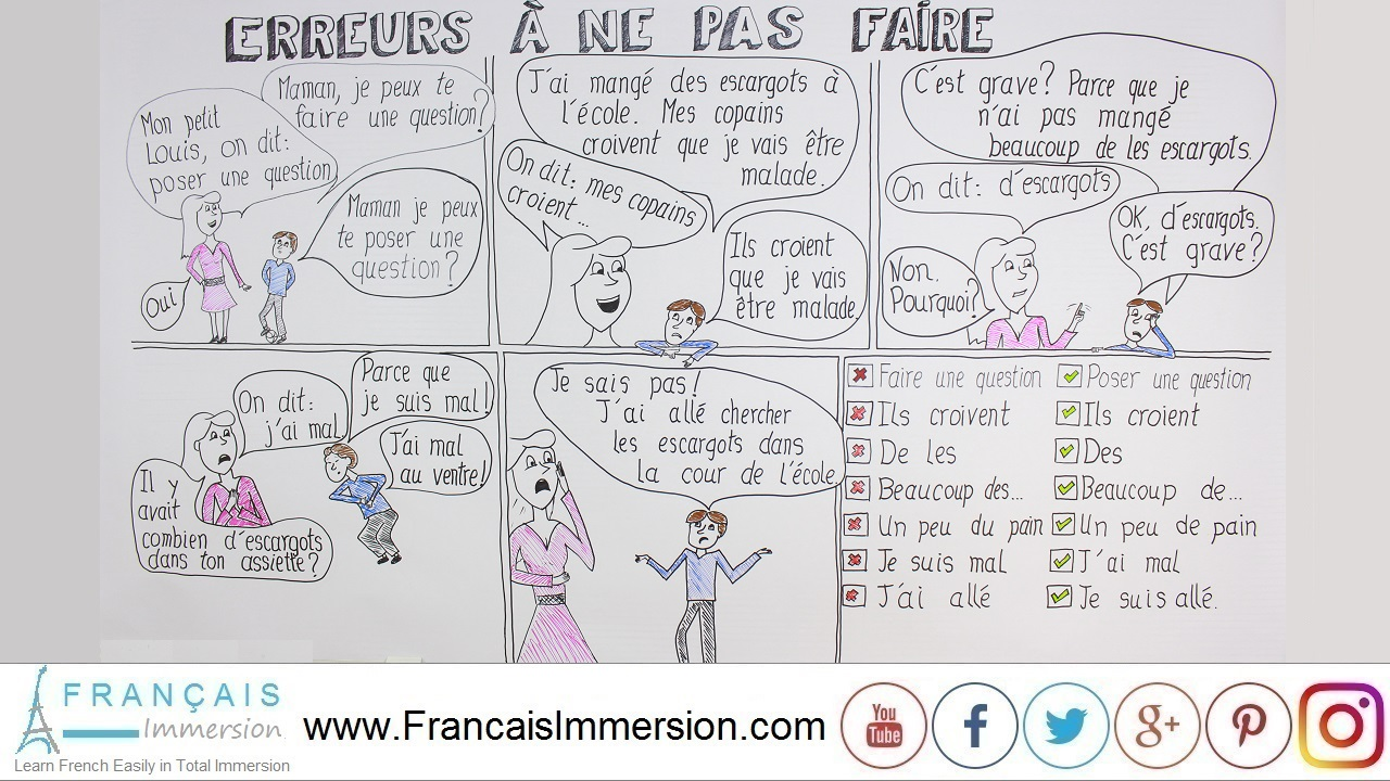 French Lesson - 7 Common Mistakes - Francais Immersion