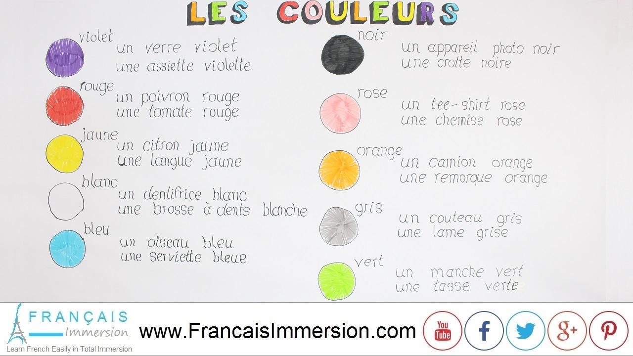 French Lesson - Colors- Français Immersion