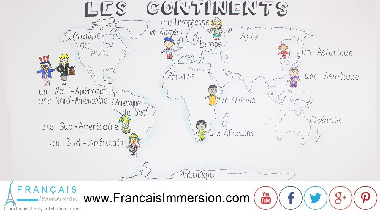 French Lesson - Continent Names - Français Immersion
