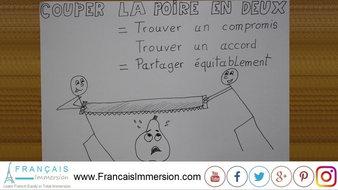 French Lesson - Phrases Couper la poire en deux - Francais Immersion