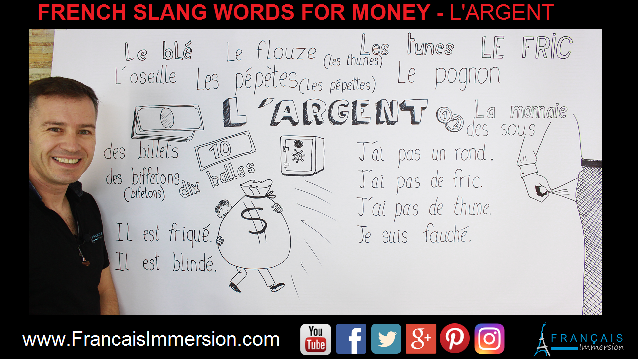 French Slang Words Phrases Money Support Guide - Francais Immersion
