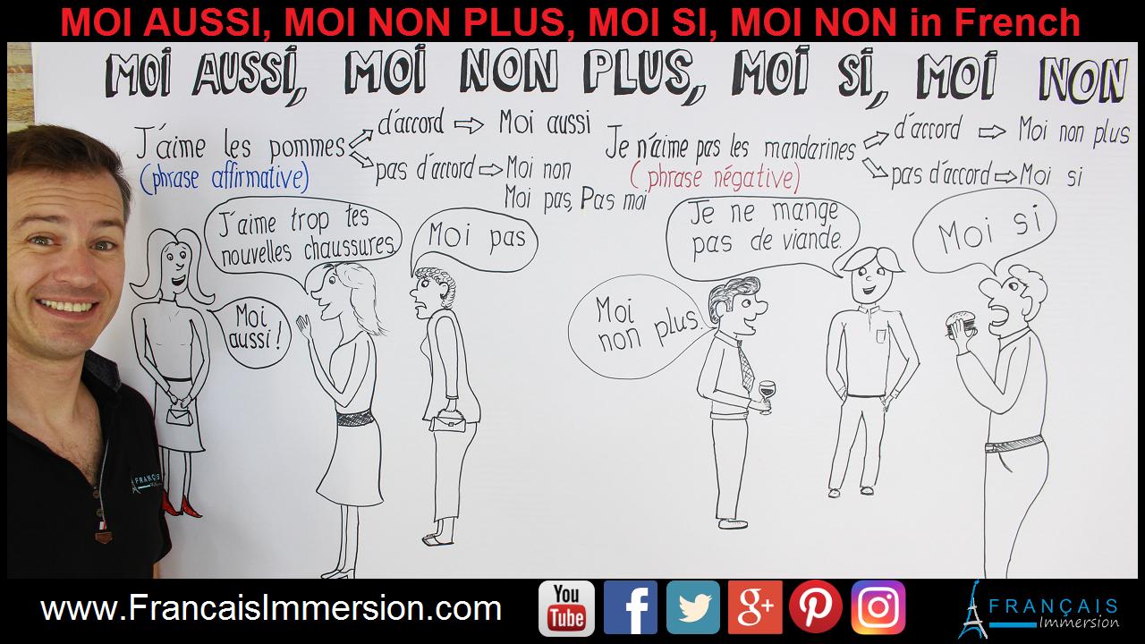 Moi aussi Moi non plus Moi si Moi non French Support Guide - Francais Immersion