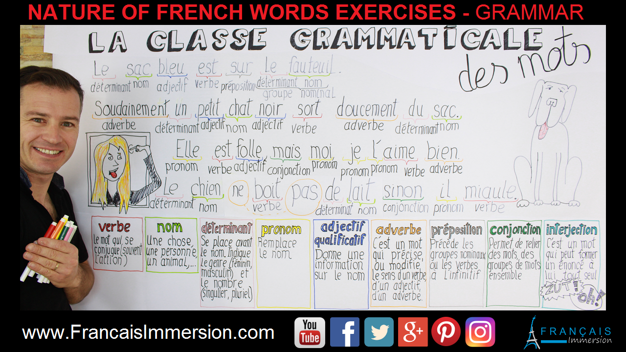 Nature French Words Exercises Grammar Support Guide - Francais Immersion
